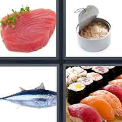 4 pics 1 word answers 4 letters pt 16 for Sashimi fish crossword