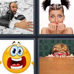 4 pics 1 word answers and cheats level Scared